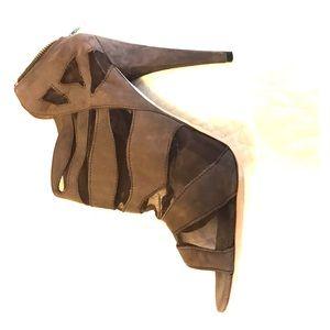 Loeffler Randall suede/mesh heeled booties